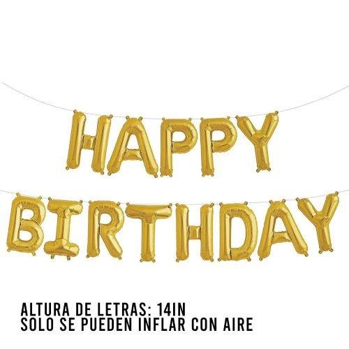 Letras Happy Birthday Gold