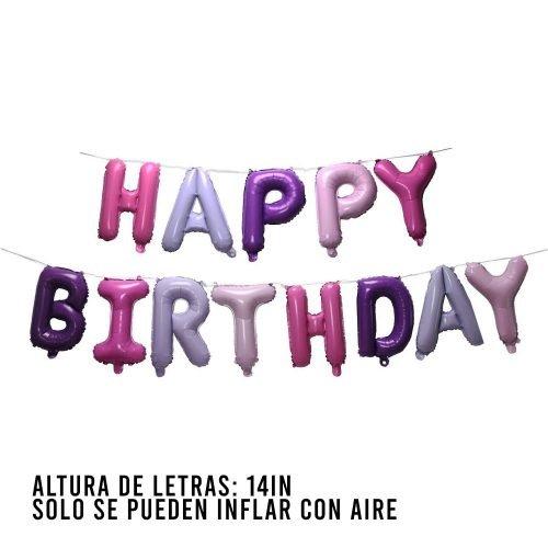 Letras Happy Birthday Pink & Purple