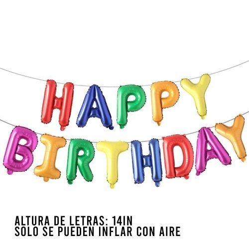 Letras Happy Birthday Rainbow Single Colors