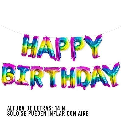 Letras Happy Birthday Rainbow Mix