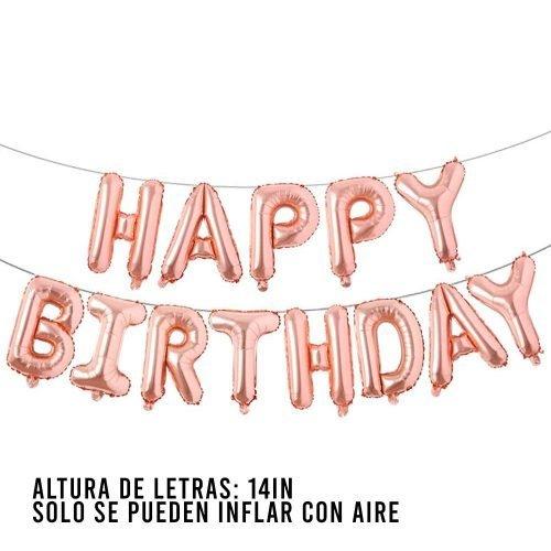 Letras Happy Birthday Rose Gold