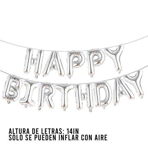 Letras Happy Birthday Plata