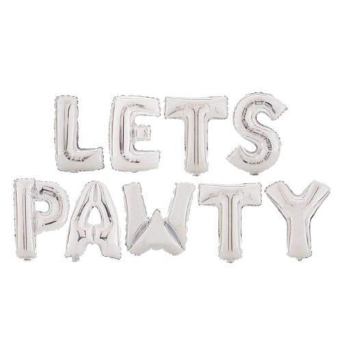 Letras Lets Pawty (Fiesta de Perros) Plata
